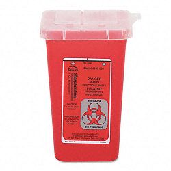 Sharps Waste Receptacle Square Plastic 1 Quart Red (IMP7350)