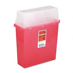 Sharps Container for Patient Room Plastic 5 Quart Rectangular Red (MIIMDS705152H)
