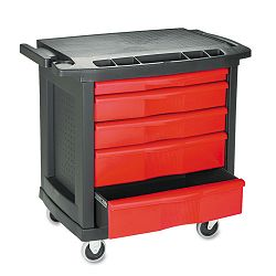 Five-Drawer Mobile Workcenter 32-12w x 20d x 33-12h Black Plastic Top (RCP773488)