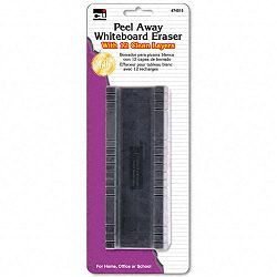 "Peel-Away Dry Erase Board Eraser with 12 Disposable Pads Felt 5"" (LEO74515)"