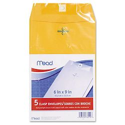 "Clasp Envelope 6"" x 9"" 24 Lb. Kraft Pack of 5 (MEA76010)"