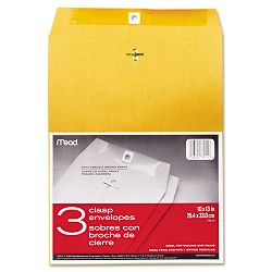 "Clasp Envelope 10"" x 13"" 24 Lb. Kraft Pack of 3 (MEA76014)"