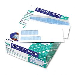 Double Window Security Tinted Invoice & Check Envelope #9 White Box of 500 (QUA24524)