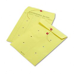 "Colored Paper String & Button Interoffice Envelope 10"" x 13"" Yellow Box of 100 (QUA63576)"