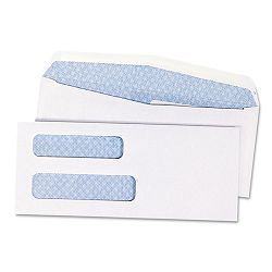 Double Window Security Tinted Invoice & Check Envelope #8 White Box of 1000 (QUA24532B)