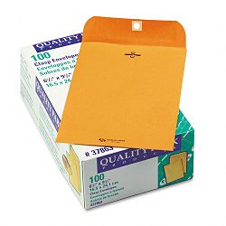 "Clasp Envelope 6-12"" x 9-12"" 28 Lb. Light Brown Box of 100 (QUA37863)"