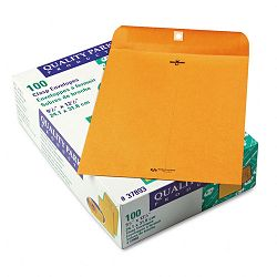 "Clasp Envelope 9-12"" x 12-12"" 28 Lb. Light Brown Box of 100 (QUA37893)"