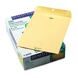 "Clasp Envelope 9"" x 12"" 28 Lb. Cameo Buff Box of 100 (QUA38290)"