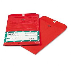 "Fashion Color Clasp Envelope 9"" x 12"" 28 Lb. Red Pack of 10 (QUA38734)"