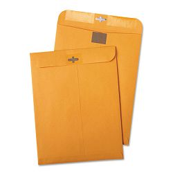 "Postage Saving Clear-Clasp Kraft Envelopes 10"" x 13"" Light Brown Box of 100 (QUA43768)"