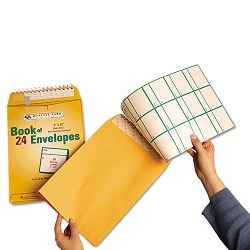 Redi-Strip Envelope Book with Labels Brown Kraft 24Pack (QUA44524)