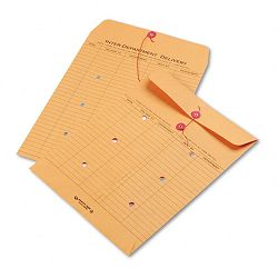 "Brown Recycled Kraft String & Button Interoffice Envelope 10"" x 13"" Carton of 100 (QUA63560)"