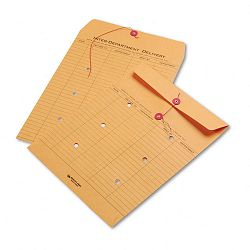 "Light Brown Kraft String & Button Interoffice Envelope 10"" x 13"" Carton of 100 (QUA63561)"
