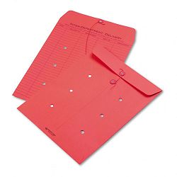 "Colored Paper String & Button Interoffice Envelope 10"" x 13"" Red Box of 100 (QUA63574)"