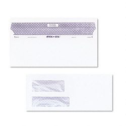 Reveal-N-Seal Double Window Invoice Envelope Self-Adhesive White Box of 500 (QUA67529)