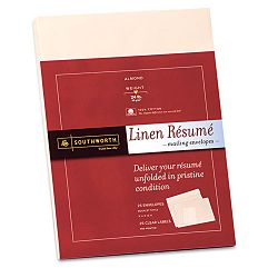 "100% Cotton Resume Envelopes 9"" x 12"" Pack of 25 Almond (SOURF8QLN)"