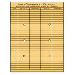"Light Brown Kraft String & Button Interoffice Envelope 10"" x 13"" Box of 100 (UNV63568)"