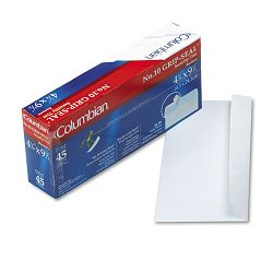 Grip-Seal Security Tint Business Envelopes Side Seam #10 White Wove Box of 45 (WEVCO142)