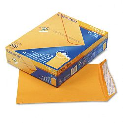 "Grip-Seal Catalog Envelopes 9"" x 12"" 28 Lb. Brown Kraft Box of 100 (WEVCO922)"