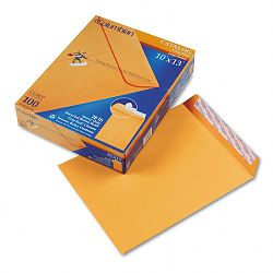 "Grip-Seal Catalog Envelopes 10"" x 13"" 28 Lb. Brown Kraft Box of 100 (WEVCO927)"