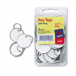"Metal Rim Key Tags Card StockMetal 1-14"" Diameter White Pack of 50 (AVE11025)"