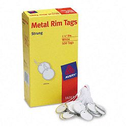 "Metal Rim Marking Tags MetalPaper 1-14"" Diameter White Box of 500 (AVE14313)"