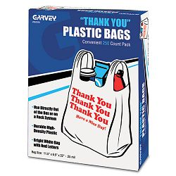 """Thank You"" Bags Printed Plastic .5mil 11 x 22 White Box of 250 (COS063036)"
