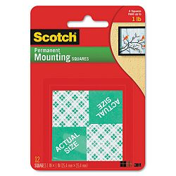 Precut Foam Mounting 1 Squares Double-Sided Permanent 16 SquaresPack (MMM111)