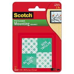 "Precut Foam 1"" Mounting Squares Double-Sided Permanent 16 SquaresPack (MMM111DC)"