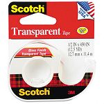 "Transparent Glossy Tape in Hand Dispenser 12"" x 450"" Clear (MMM144)"