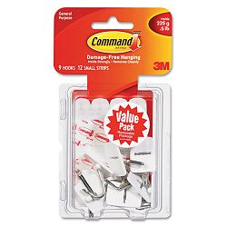 Adhesive Hooks Small Holds 12-lb White Pack of 9 (MMM17067VP)