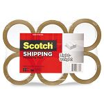 "Lightweight Shipping Packaging Tape 1.88"" x 54.6 yds Tan Pack of 6 (MMM3350T6)"