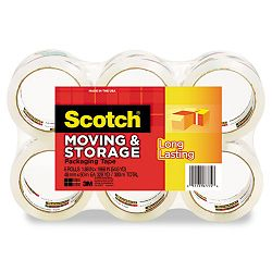 "Moving & Storage Tape 1.88"" x 54.6 yards 3"" Core Clear 6 RollsPack (MMM36506)"