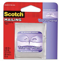 "Tear-By-Hand Packaging Tape 1.88"" x 17.5 yds 1-12"" Core Clear (MMM3841)"