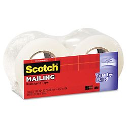 "Tear-By-Hand Packaging Tape 1.88"" x 50 yards 1-12"" Core Clear Box of 2 (MMM38422)"