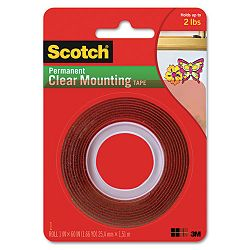 Double-Sided Mounting Tape Industrial Strength 1 x 60 ClearRed Liner (MMM4010)