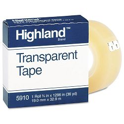 "Transparent Tape 34"" x 1296"" 1"" Core Clear (MMM5910341296)"