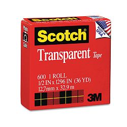 "Transparent Glossy Tape 12"" x 1296"" 1"" Core Clear (MMM600121296)"