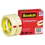 "Transparent Tape 600-2P34-72 34"" x 2592"" 3"" Core Transparent 2 Rolls (MMM6002P3472)"