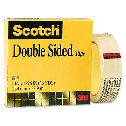 "665 Double-Coated Tape 1"" x 36 yards Clear (MMM66511296)"
