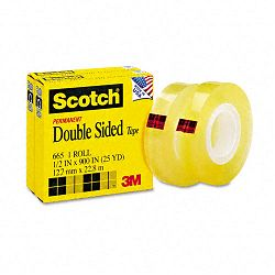 "665 Double-Sided Office Tape 12"" x 900"" 1"" Core Clear Box of 2 (MMM6652PK)"