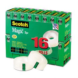 "Magic Office Tape Value Pack 34"" x 1000"" 1"" Core Clear 16 RollsPack (MMM810K16)"
