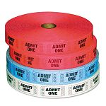 Admit-One Ticket Multi-Pack 4 Rolls 2 Red 1 Blue 1 White 2000Roll (PMC59001)