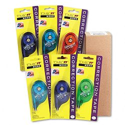 "MONO Correction Tape Assorted Retro Color Dispensers 16"" x 394"" 6 per Box (TOM68670)"