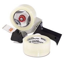 "Carton Sealing Tape with Pistol Grip Dispenser 2"" x 60 yds 3"" Core Clear Box of 2 (UNV91002)"
