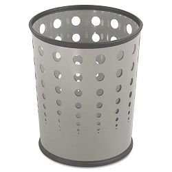 Bubble Wastebasket Round Steel 6 Gallon Gray (SAF9740GR)
