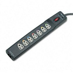 Power Guard Surge Protector with PhoneDSL Protect 7 Outlets 6ft Cord (FEL99110)