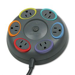SmartSockets Color-Coded Tbltop Surge Protector 6 Outlets 16ft Cord (KMW62634)