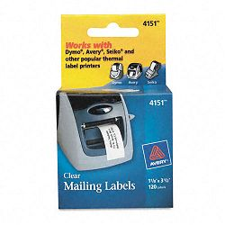 "Address Labels 1-18"" x 3-12"" Clear 120Roll 1 RollBox (AVE4151)"