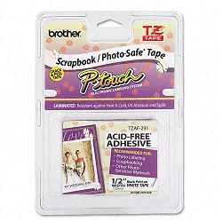 "TZ Photo-Safe Tape Cartridge for P-Touch Labelers 12""w Black on White (BRTTZAF231)"